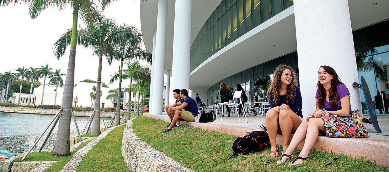Students sitting outside of the Shalala Student Activities Center