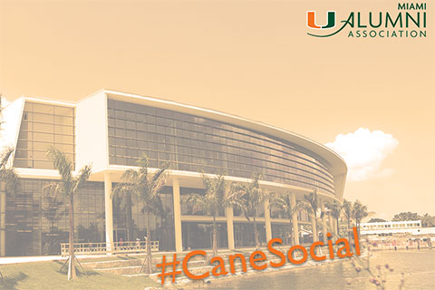 #CaneSocial Promotional Graphic with Student Activities Center