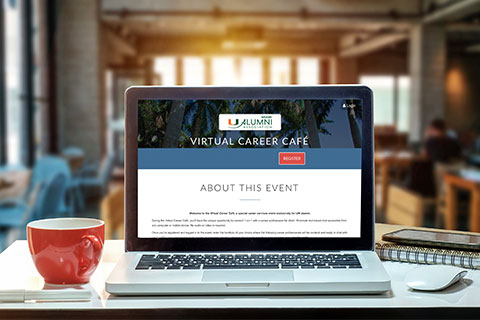 Virtual Career Cafe on computer