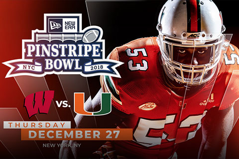 UM football in the NewEra Pinstripe Bowl vs. the University of Wisconsin