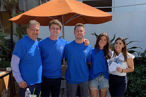 Alumnus Bill Fisse, B.B.A. '75, M.B.A. '77, with University of Miami students Louis Shaw, Richard Bosco, Bridget Scanlon, and Cory Levy during Citi's on-campus recruitment event in February 2020.
