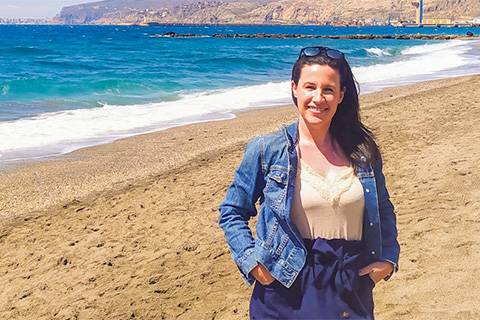 Alumna Brenna O'Neill on the beach in Almeria, Spain. Photos courtesy Brenna O'Neill