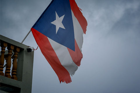 Damaged Puerto Rico flag