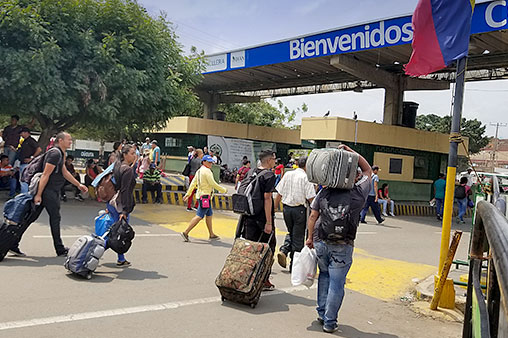 Venezuelan migrants enter Colombia at the Simon Bolivar bridge near the city of Cúcuta in the northeast part of the country.