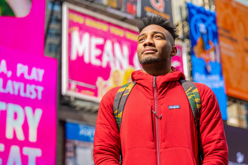 University of Miami senior theatre arts major Jordan Kiser at Times Square.