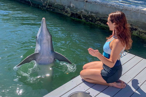 Student practices hand signals with Alfonz the dolphin