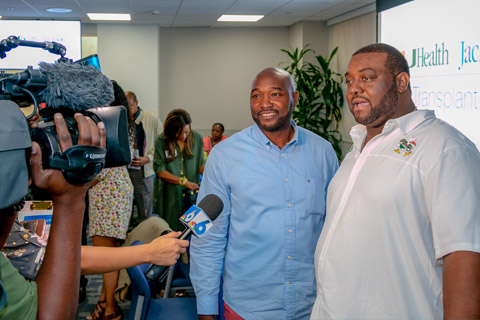 Jermaine Chambers (left) and Gerard Daphnis during Wednesday's National Donate Life Month event, held at Jackson Memorial Hospital.