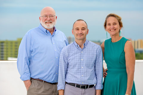 The College of Arts and Sciences' Steven Safren, center, leads the new Center for HIV and Research in Mental Health, or CHARM, with the Miller School's Daniel Feaster and Deborah Jones Weiss.