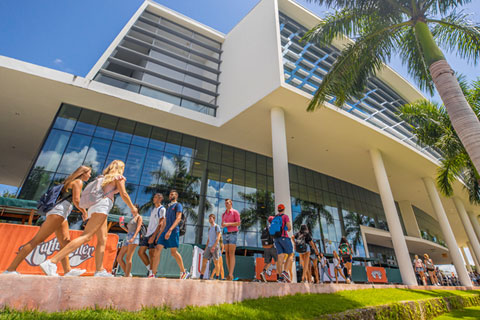 Students walk past the Shalala Student Center on the first day of the fall semester.