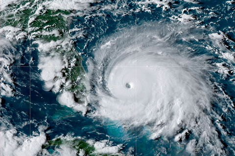 Satellite view of Hurricane Dorian