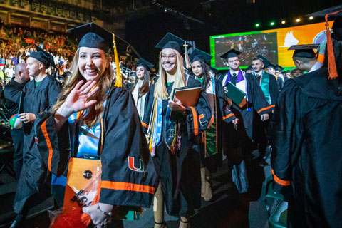 Students participate in the 2019 Fall Commencement at the Watsco Center. Photo: TJ Lievonen/University of Miami
