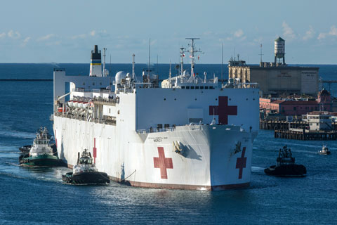 The Military Sealift Command hospital ship USNS Mercy arrives in Los Angeles Friday, March 27. Photo: Associated Press