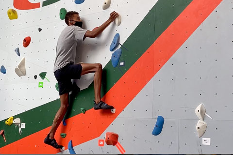 The climbing wall at Lakeside Village is open to students, with a reservation required for use. Video: Emmalyse Brownstein/University of Miami