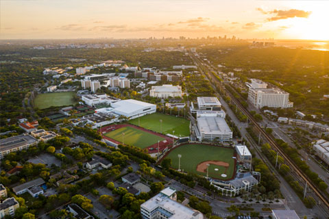 An aerial view of the Coral Gables Campus at the University of Miami. Photo: TJ Lievonen/University of Miami