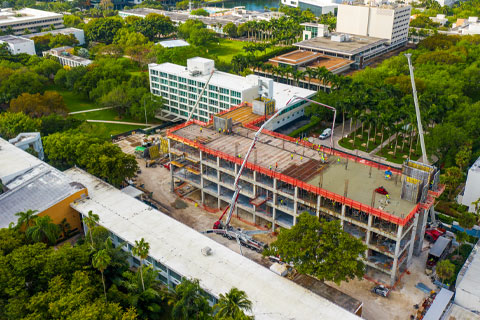 Workers poured the concrete deck for the fifth floor of the Frost Institute of Chemistry and Molecular Science last month. Photo: TJ Lievonen/University of Miami
