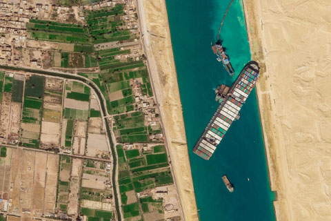 A March 28 satellite image from Planet Labs Inc. shows the cargo ship Ever Given stuck in the Suez Canal near Suez, Egypt. Photo: The Associated Press