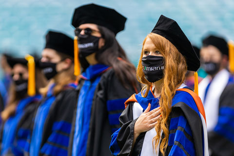 Two graduate commencement ceremonies took place at Hard Rock Stadium on Thursday. Photo: TJ Lievonen/University of Miami