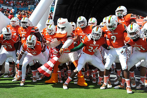 university of miami hurricanes football team group photo sebastian the ibis