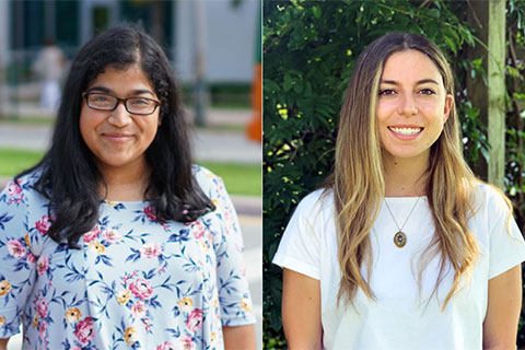 Shwetha Mudalegundi (left) and Danielle Goldwert (right) were awarded the prestigious Goldwater Scholarship to continue their research at the University of Miami.