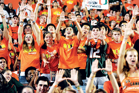 UM Students and Fans at Football game