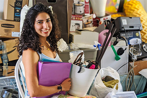 Through her nonprofit's dorm supply drive, Ahzin Bahraini collected a roomful of essentials for recent high school graduates headed to college.