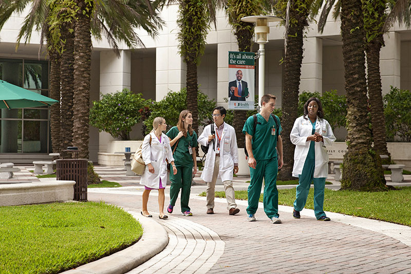 University students on the Miller School of Medicine campus